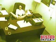 Hot office babe gets fimed fucking her pussy at her desk on office spy cam