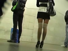 Wow, that chick totally blew me away with her incredibly sexy white fishnet stockings! Besides, her skirt was so most assuredly short, I shot her candid upskirt most assuredly easily. Enjoy one of the hottest vids ever!