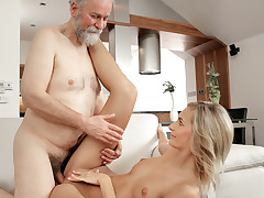 Jenny Smart woke up full of sexual energy. It was an amazing morning and her lovely older husband made hot tea first and then inflamed her body for passionate sex on a couch. She loved his beard and his wrinkled face, barricade the best of all she love to lick